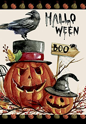 Oremovqweenry Gartenflagge Happy Halloween Dekorative Kürbis-Urlaubs-Jack o Laterne Haus Flagge, 31,8 x 45,7 cm (Jack Happy O Laterne Muster Halloween)
