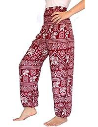 BANJAMATH Hippy con Texto harén Smocked Womens Yoga Cintura diseño Floral con diseño de Flores para