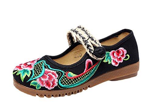 Insun Femme Ballerines Vintage Broderie Fleur Mary Janes Chaussures Plates Noir