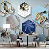Foglie Decorative Diamante 3D Foto Carta Da Parati Murale Nordic Moderna Geometria Solida Studio Modello Soggiorno Tv Sfondo Blu Pittura Murale 18,15/1㎡