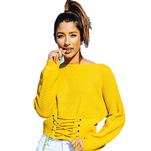 Reaso Pull Elegant Femmes Manches Longues Blouse Casual Chandail Chandail Automne Hiver Tricoter Bandage Pullover Tricot Sweater Loose Cardigan Ultra Blouson (Taille unique, Jaune)