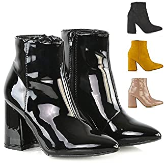 - 51WLSfc2kdL - ESSEX GLAM Womens Ankle Boots Pointed Toe Block Mid High Heel Ladies Zip Up Chelsea Booties Shoes Size 3-8