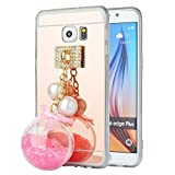 Spritech TM Fashion Handy Fall für Samsung Galaxy S7, Gold Slippy Spiegel Weich mit Einer Lovely Quicksand Anhänger Zubehör Design Smartphone Cover Rose