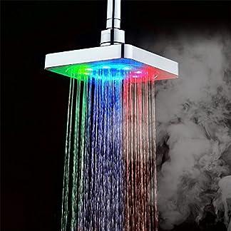 GuDoQi® 3 Colores Que Cambian El Cabezal De Ducha Cabezas De Ducha De Lluvia del Baño Cabezal De Ducha Cascada 6 Pulgadas Cuadrado Control De Temperatura