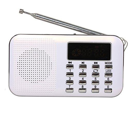 Stehen Musik Digitale (Timorn FM Tragbare Digital Radio MP3 Musik Spieler Medien Lautsprecher Unterstützungs TF Karte / USB Disk mit LED Screen Display und Nottaschenlampe Funktion (Y896) (Weiß))