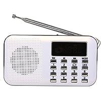 Tarjeta Timorn Radio Portátil Digital reproductor de música MP3 altavoz de medios de la ayuda TF / disco USB con pantalla LED de visualización y la función de la linterna de emergencia (Y896)(blanco)