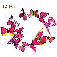 12 pz colorato 3D Artigianato farfalla stile decorativo Wallpaper Wall Stickers Art decorazioni casa Camera Decor fai da te
