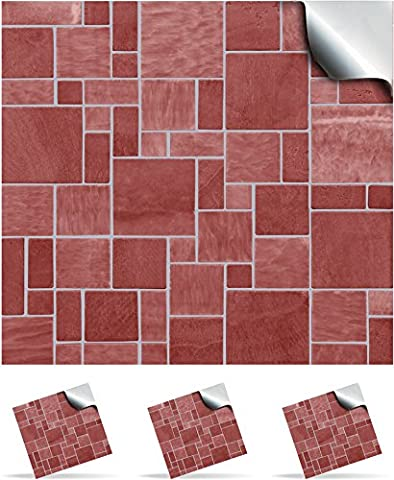 2 Red Stone - Self Adhesive Mosaic Wall Tile Decals For 150mm (6 inch) Square Tiles –(TP31)- Realistic Looking Stick On Wall Tile Transfers Directly From the Manufacturer: TILE STYLE DECALS, No Middleman -- Peel and Stick on Tile to Transform your Kitchen, Bathroom – Oil-proof, Waterproof Tile Stickers, Heat Resistant Sticks on tile kitchen tiles stickers / Bathrooms Tile Stickers (Pack of 2, Red Stone)