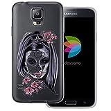 dessana Santa Muerte transparente Schutzhülle Handy Case Cover Tasche für Samsung Galaxy S5/Neo Frau Haar Schmuck