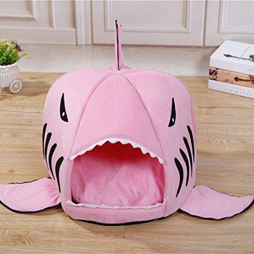 xinji-pets-dog-cat-soft-shark-tent-house-beds-machine-washable-pinkm-525238cm