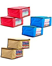 Amazon Brand - Solimo 6 Piece Non Woven Fabric Saree Cover Set with Transparent Window, Extra Large, Pink, Blue and Beige