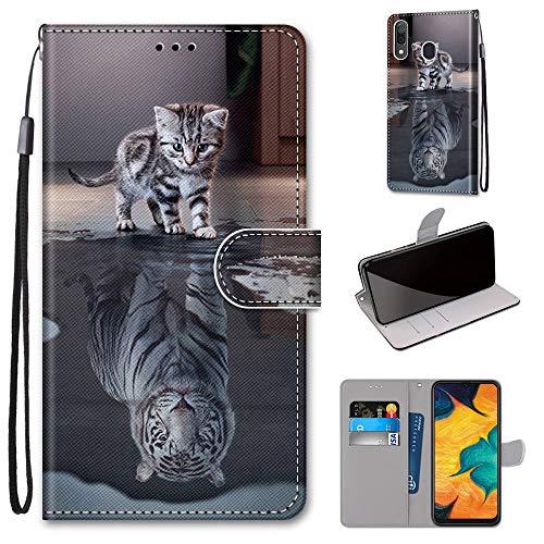 Miagon Flip PU Leder Schutzhülle für Samsung Galaxy A20/30,Bunt Muster Hülle Brieftasche Case Cover Ständer mit Kartenfächer Trageschlaufe,Katze Tiger
