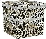 Relaxdays Faltbarer Sitzhocker 38 cm stabiler Sitzwürfel mit trendigen Motiven als praktische Ablage als Sitzwürfel mit bedrucktem Kunstleder als Aufbewahrungsbox mit Stauraum und Deckel, Tiger beige