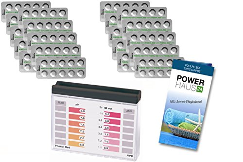 Pooltester Chlor/pH mit 200 Chlor DPD1 (100) und pH Phenol Red (100) Tabletten von POWERHAUS24®