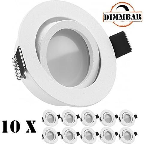 10er LED Einbaustrahler Set Weiß matt mit LED GU10 Markenstrahler von LEDANDO - 5W DIMMBAR - warmweiss - 110° Abstrahlwinkel - schwenkbar - 35W Ersatz - A+ - LED Spot 5 Watt - Einbauleuchte LED