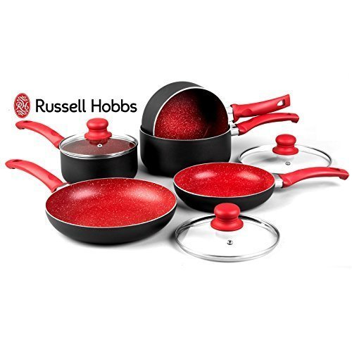 Russell Hobbs 8 Piece Induction Non Stick Stone Pan Set Saucepan Frying Pan Kitchen Cookware (Red)