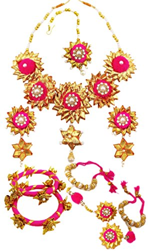 BLENT#63 Traditional Pink Gota Patti Fabric Jewellery Set for Women/Girls/Kids/Bride/Wedding/Haldi/Mehndi (Full) (10...
