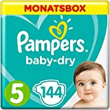 Pampers Baby-Dry Windeln, Gr.5, 11-16kg, Monatsbox, 1er Pack (1 x 144 Stück)