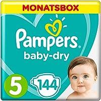 Pampers Baby-Dry Windeln, Gr. 5, 11-16kg, Monatsbox, 1er Pack (1 x 144 Stück)