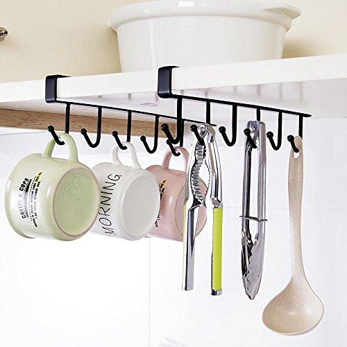 Hysagtek 2 pcs taza taza taza de soporte de estante armario colgador 6 ganchos toalla percha para cinturones y corbatas, soporte de secado de rack de almacenamiento organizador, sin perforación, negro