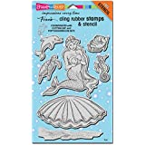 Stampendous Cling Rubber Stamp Set, Mermaid with Template