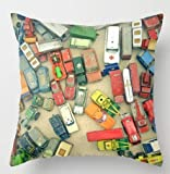 Kopfkissenbezüge BBQ Party Sausages on Open Flame Outdoor Activities Pattern Natural Landscape Backdrop, Decorative Square Accent Pillow Case, 18 X 18 inches, Multicolor