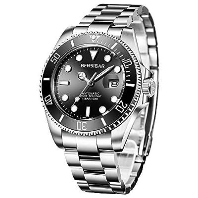 BERSIGAR analógico de Acero Inoxidable Automático Reloj Impermeable Casual de Correa de Acero Inoxidable Reloj de los Hombres con Fecha