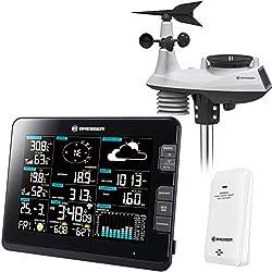 Bresser Profi Wetterstation Funk mit Außensensor Wetter Center 6-in-1 mit großem 8 Zoll Farb-Display und Außensensor für Temperatur, Luftfeuchtigkeit, Luftdruck, Wind, Niederschlag und UV-Strahlung
