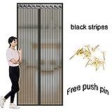 DW&HX Magnet fliegengitter,Dauerhaft Heavy-duty mesh vorhang und full-frame-velcro Multi-size Haustierfreundlich Magnet tür vorhang -Schwarz 80x205cm(31x81inch)