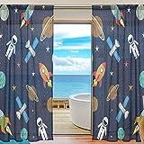 BONIPE Weltraum Sterne Planeten mit Raketen Sheer Vorhang Voile Tüll Fenster Vorhang für Küche Schlafzimmer Wohnzimmer Home Decor, 139,7x 198,1cm, 2Platten Set, Polyester, Multi, 55x84x2(in)