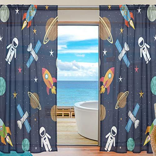 BONIPE Weltraum Sterne Planeten mit Raketen Sheer Vorhang Voile Tüll Fenster Vorhang für Küche Schlafzimmer Wohnzimmer Home Decor, 139,7x 198,1cm, 2Platten Set, Polyester, Multi, 55x84x2(in) (Vorhang Schiere 84 Weiß)