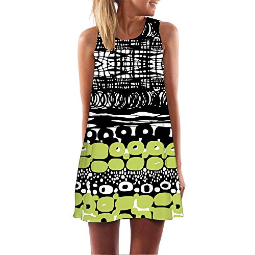 Yvelands Damen T-Shirt Kleid Mode Sommer Casual Tiefem Oansatz Ärmelloses Blumendruck Kleid (Green7,XL)