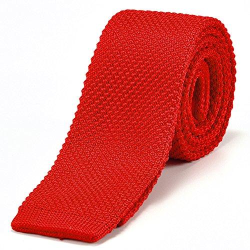 DonDon corbata de punto estrecha de color rojo 5cm