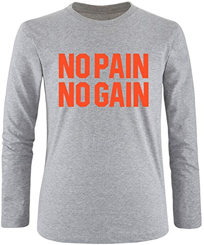 EZYshirt® No Pain No Gain vol. 3 Herren Longsleeve Grau/Orange