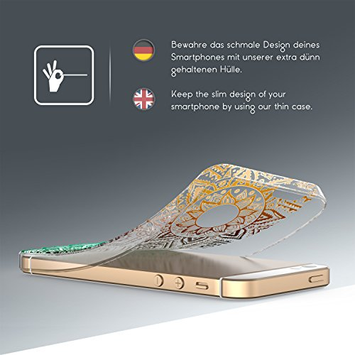 Urcover® iPhone 5 / SE Hülle | Trend Fashion | TPU in Mandala Mint | Zubehör Tasche Case Handy-Cover Schutz-Hülle Schale Mandala Grün / Braun