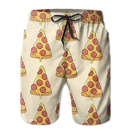 Jocper Summer Funny Knee High Shorts Pants Pizza Mens Beach Short Boardshorts for Boy and Men Medium -