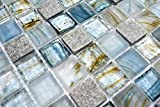 Mosaikfliesen Fliesen Mosaik Küche Bad WC Wohnbereich Fliesenspiegel Glas glänzend Cream grau 6mm Neu #611