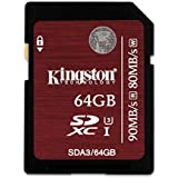 Kingston Carte SDA3/64 GB SDHC/SDXC UHS-I U3, 64 GB Vitesses 90R/80W