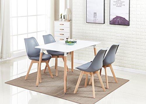 P & N Homewares® Lorenzo Esstisch und 4 Stühle Set Retro und Modern Dining Set Weiß Schwarz und Grau Stühle mit weißen Esstisch skandinavisch (GRAUE STÜHLE)