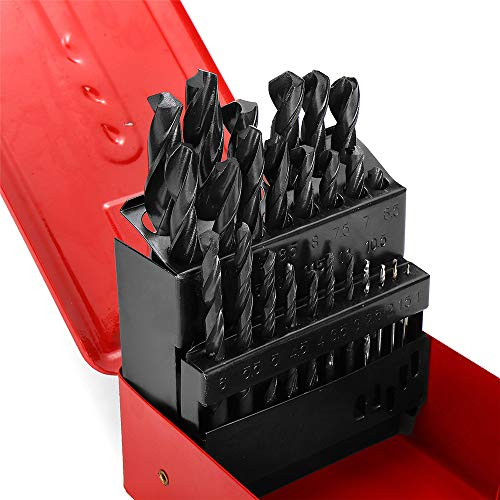 ChaRLes 19/25Pcs 1-13Mm High Speed Steel Twist Drill Bit Set Mit Meatl Aufbewahrungsbox - 25Pcs - High-speed Steel Twist Drill