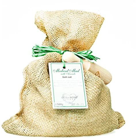 Sal de baño - Bath salts with medical mud and avocado (1500 g) in a jute sack with wooden scoop. Unique