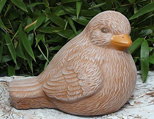 Steinfigur Vogel Terrakotta, Deko Figur Garten Stein Frostsicher