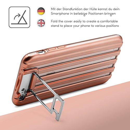 Coque iPhone 6 / 6s, Urcover Housse Étui [avec Support] Téléphone Smartphone TPU Ondulé Look Metal Transparent Rose Dorée Apple iPhone 6 / 6s Case Rose Or / Transparent