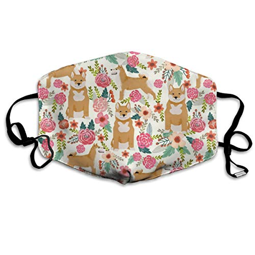 Shiba Inu Florals Flowers Cream Girls Sweet Dog Dogs Pet Dog Flowers Anti Dust Mask Anti Pollution Washable Reusable Mouth Masks