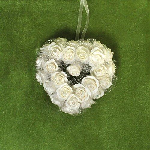 Dekorationsherz weiße Rosen zum Aufhängen Dekoherz ca. 34 x 35 cm Rosenherz (Verkauf Zum Kränze)