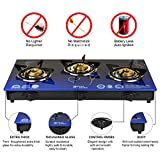 Surya Aksh Glass Top, 3 Burners Auto Ignition Gas Stove (Blue)