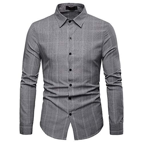 Dasongff Herren Hemd Trachtenhemden Kariertes Langarmhemd mit Krempelarm - Fitted,Streifen Trachten-Hemd,Lose Männer Freizeithemd