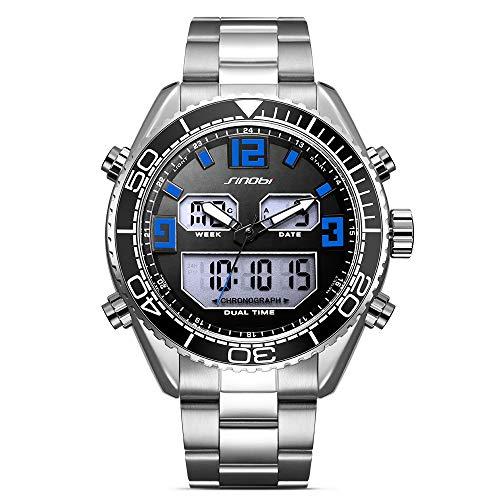 Altsommer Sport Quarz Uhren aus Rostfreier Stahl Luxus Fashion Classic Double Display Dial Edelstahl Armband Herrenuhr Armbanduhr Damen Uhr Herren Watch für Damen Herre Gefährte