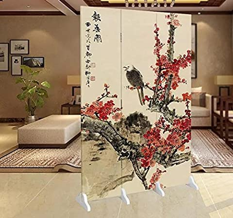 Fine Asianliving séparateur de pièce Paravent pliable écran Eagle avec Blossoms 3panneaux (180x 120cm) meubles Home Decor Salon Chambre à coucher Décoration Toile imprimée recto verso écrans bilatéral Oriental asiatique chinois Style japonais (sur toile)