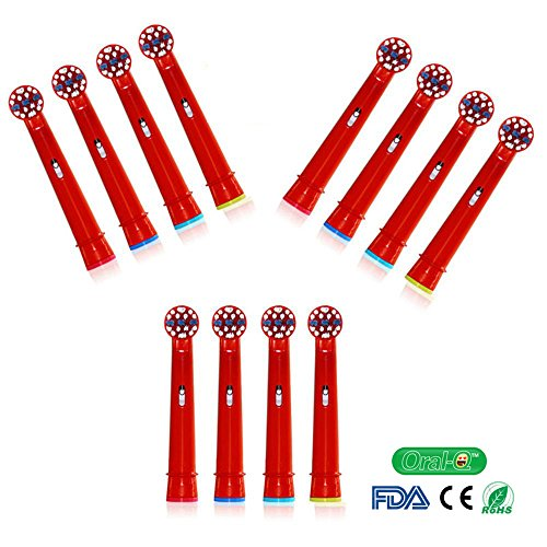 oral-q Standard Elektrische Zahnbürste Ersatz Köpfe passt für Kinder für Braun Oral-B EB10-4,12pcs (3packs) zufällige farbe